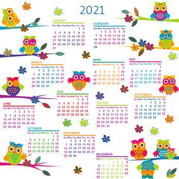 2021 Calendar with cartoon owls