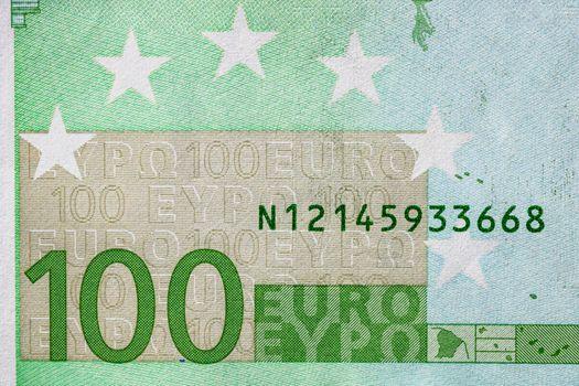 Selective focus on detail of euro banknotes. Close up macro deta