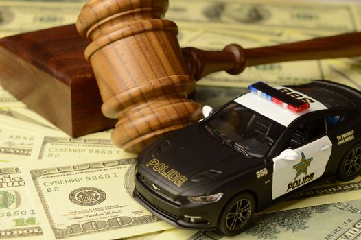 A conceptual image based on the theme of a police auction.