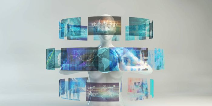 Business Technology Global Network with Futuristic Art