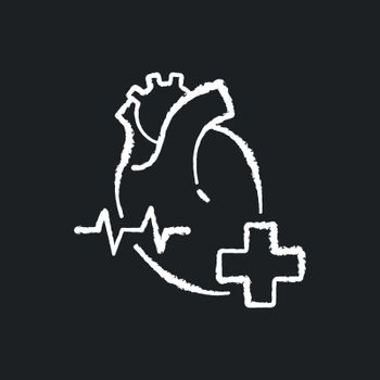 Cardiology department chalk white icon on black background