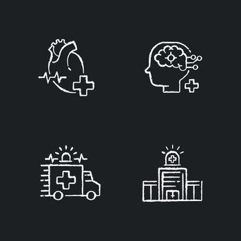 Urgent health care chalk white icons set on black background