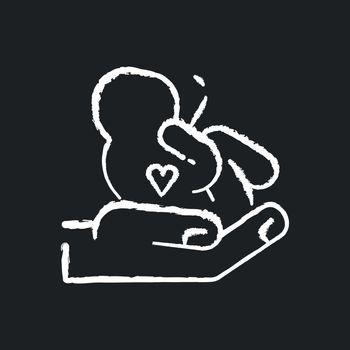 Maternity ward chalk white icon on black background