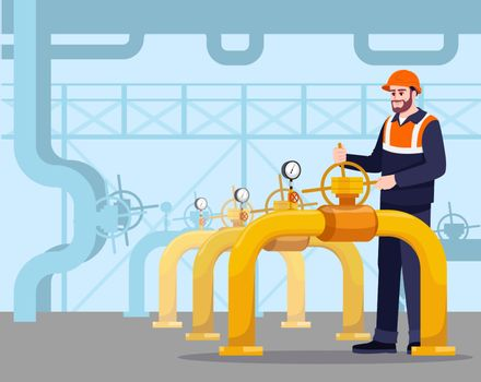 Pipeline maintenance semi flat vector illustration