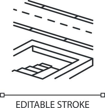 Underground pedestrian walkway linear icon