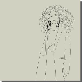 Face of a beautiful woman. Girl wears coat.Spring poster design for web and print. Retro fashion style