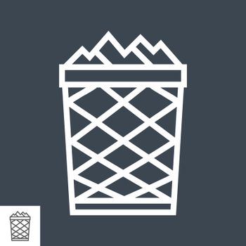 Trash Bin related vector glyph icon. Isolated on black background. Vector illustration.