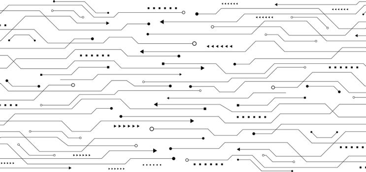 Abstract pattern black line circuit board on white background technology concept. Vector illustration