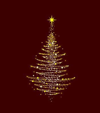 Christmas tree with a star on a dark red background. Abstract Christmas tree for cards for Christmas.