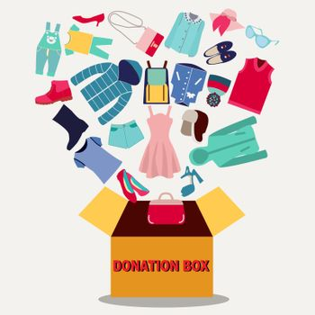 Cloth Donation Box banner. Cardboard box full of clothes, shoes and accessories. Donate, charity, thanksgiving. Flat vector illustration.