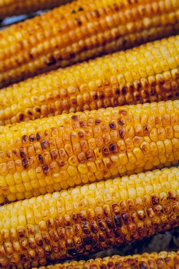 Yellow Food Background. Food Still Life. Delicious Grilled Sweetcorn. Autumn Harvest Season. Thanksgiving Day Meal.