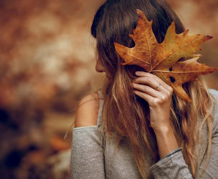 Beautiful Young Model Posing in the Autumnal Park. Covers Face with Dry Maple Leaf. Beauty of Autumn Nature.