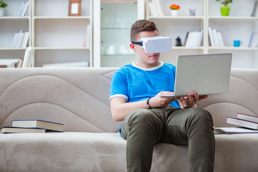 Young man student studying with virtual glasses