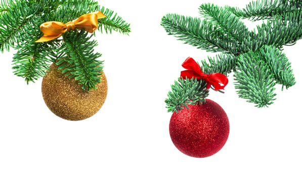 Christmas evergreen spruce noble fir tree golden and red glitter glass bauble ball isolated on white background