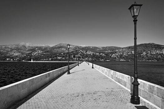 A stone bridge over the bay in the town of Argostoli on the island of Crete