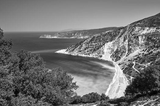 Rocky coast and Mitros beach on the island of Kefalonia