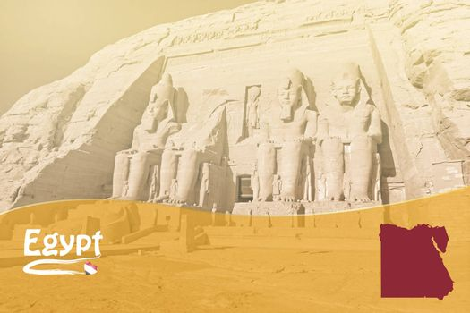 Travel template with Egyptian symbols and Abu Simbel Temple in background ready for your use.
