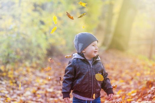 Smiling little boy is seeing falling autumn leaves outdoors. Photo in soft light autumn colors.