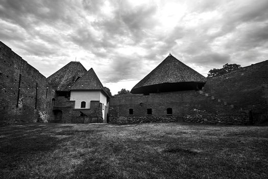Ruins of walls of a medieval defensive castle in the city of Miedzyrzec