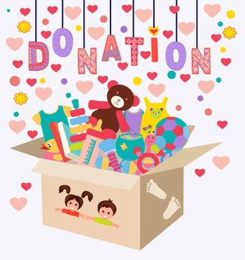Charity kindness, humanitarian aid, volunteer social assistance. Box with child clothes and toys. Vector flat illustration