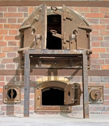 Dachau, Germany on july 13, 2020: Oven in the crematorium at the