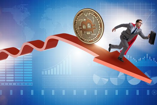 Bitcoin chasing businessman in cryptocurrency price crash