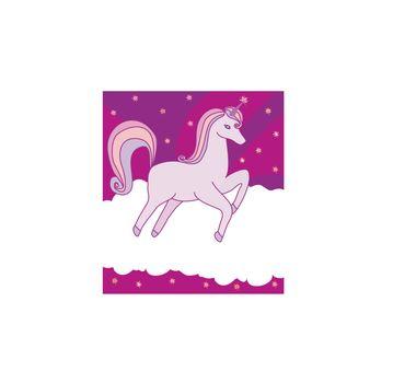 Hand drawn fantasy cartoon unicorn, lovely girlish frame
