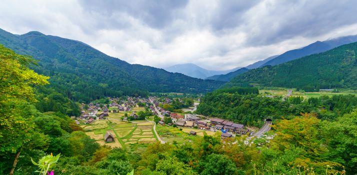 View of Ogimachi village with traditional gassho-zukuri farmhouses, in Shirakawa-go, Ono, Japan