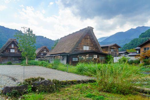 Traditional gassho-zukuri farmhouses, in Ogimachi village, Shirakawa-go, Ono, Japan