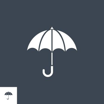 Umbrella related vector glyph icon. Isolated on black background. Vector illustration.