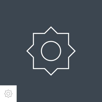 Sun Icon. Sun Related Vector Line Icon. Isolated on Black Background. Editable Stroke.