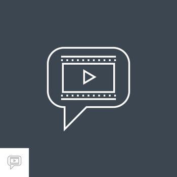 Video Marketing Related Vector Thin Line Icon. Isolated on Black Background. Editable Stroke. Vector Illustration.