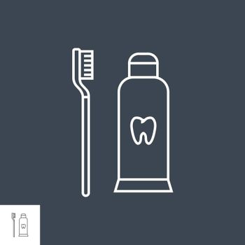Toothpaste and Toothbrush Line Icon. Toothpaste and Toothbrush Line Related Vector Line Icon. Isolated on Black Background. Editable Stroke.