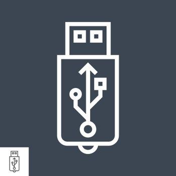 USB Vector Line Icon. USB Related Vector Line Icon. Isolated on Black Background. Editable Stroke.