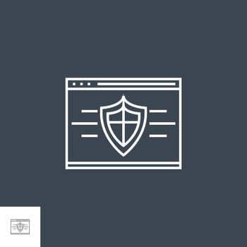 Web Security Related Vector Thin Line Icon. Isolated on Black Background. Editable Stroke. Vector Illustration.