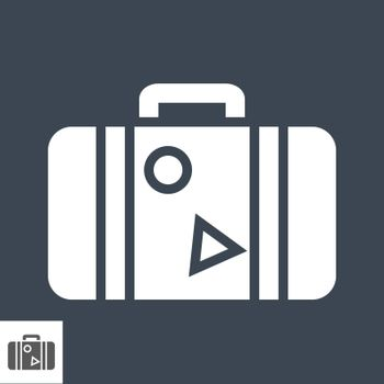 Suitcase Flat Vector Icon. Flat icon isolated on the black background. Editable EPS file. Vector illustration.