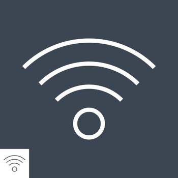 Wi FI Thin Line Vector Icon. Flat icon isolated on the Black background. Editable EPS file. Vector illustration.