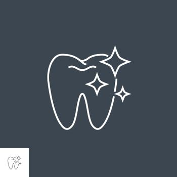 Tooth Clean Line Icon. Tooth Clean Line Related Vector Line Icon. Isolated on Black Background. Editable Stroke.