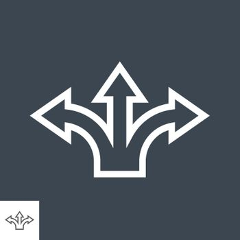Three-Way Direction Arrow Thin Line Vector Icon. Flat icon isolated on the black background. Editable EPS file. Vector illustration.