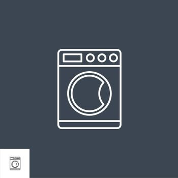 Washing Machine Related Vector Line Icon. Isolated on Black Background. Editable Stroke.