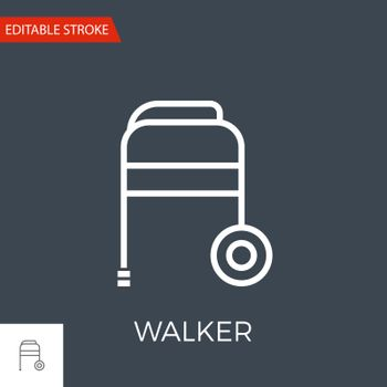Walker Thin Line Vector Icon. Flat Icon Isolated on the Black Background. Editable Stroke EPS file. Vector illustration.