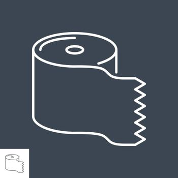 Toilet paper related vector thin line icon. Isolated on black background. Editable stroke. Vector illustration.