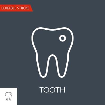 Tooth Thin Line Vector Icon. Flat Icon Isolated on the Black Background. Editable Stroke EPS file. Vector illustration.