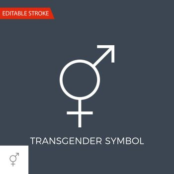 Transgender Symbol Thin Line Vector Icon. Flat Icon Isolated on the Black Background. Editable Stroke EPS file. Vector illustration.