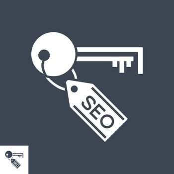 SEO Tag Related Vector Glyph Icon. Isolated on Black Background. Vector Illustration.