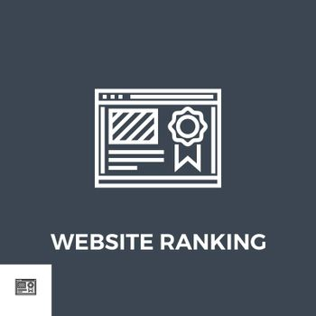 Website Ranking Related Vector Thin Line Icon. Isolated on Black Background. Vector Illustration.