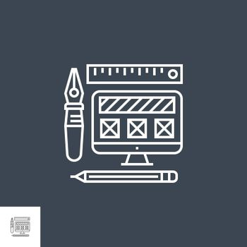 Web Design Related Vector Thin Line Icon. Isolated on Black Background. Editable Stroke. Vector Illustration.