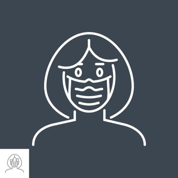 Woman wit medical mask related vector thin line icon. Isolated on Black background. Editable stroke. Vector illustration.