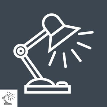 Reading-lamp Thin Line Vector Icon Isolated on the Black Background.