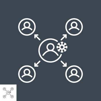 Virus transmission related vector thin line icon. Isolated on black background. Editable stroke. Vector illustration.